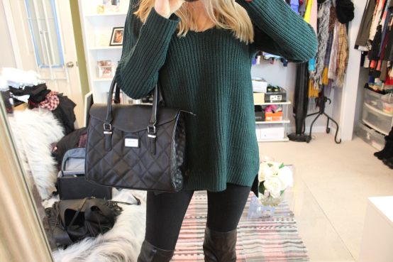 Go-To Winter Outfit: Chunky Oversized Sweaters and Faux LeatherBoots